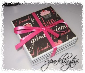 fun-pink-black-cupcakes-and-hearts-friends-ceramic-coasters-set-of-4