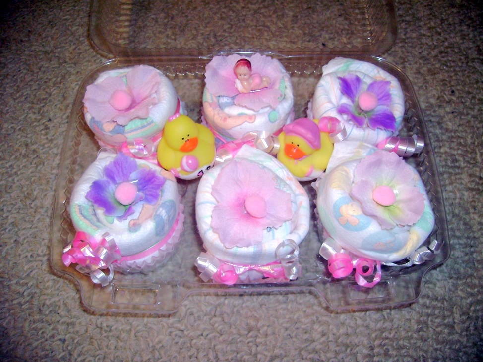 Baby Shower Cupcake Gift Ideas : Baby Shower Gifts - Diaper Cupcakes - All Things Cupcake