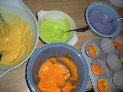 Halloween Cupcake Batter Colors