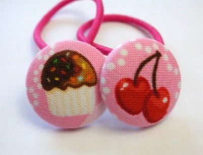Cupcakes and Cherries Ponytail Holders