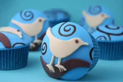 blue twitter cupcake