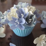 jchristinahuh - Flower cupcakes - Here's my blogpost about the cupcakes and the flowers. :)  If you are interested in a paper flower arrangement, please check my profile for a link to my store. - http://jchristinahuh.blogspot.com/2009/05/flower-cupcake-dove-gray-french-violet.html