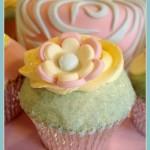 Scrumptious Buns - Aqua, Ivory and Pink Flower Cupcake - http://www.scrumptiousbuns.co.uk/