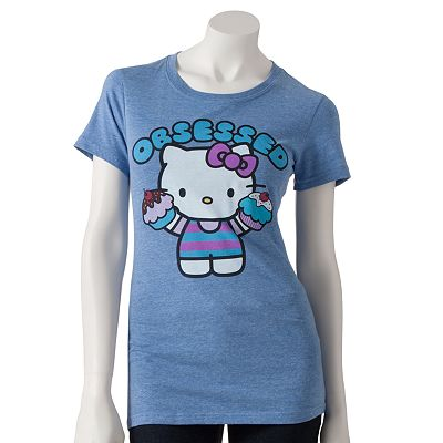Hello kitty cupcake obsessed tee shirt all things cupcake for Hello kitty t shirt design